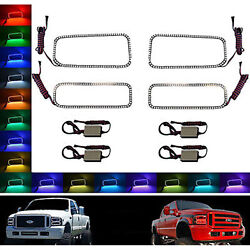 05-07 Ford F-250 Multi-color Changing Led Rgb Smd Halo Lower Headlight Rings Set