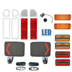 71-72 Chevy And Gmc Truck Led Red And Amber Tail Light Lenses W/ Door Mirror Set Nh