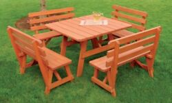Aandl Furniture Co. 43 Amish-made Square Pine Picnic Table With Backed Benches