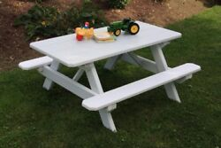 Aandl Furniture Co. 4' Amish-made Pine Kids Picnic Table, Available In 18 Colors