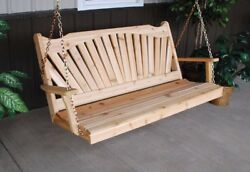 Aandl Furniture Co. Amish-made Cedar Fanback Porch Swings Available In 3 Sizes