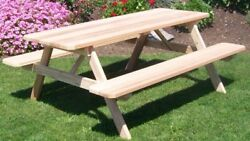 Aandl Furniture Amish-made Cedar Picnic Tables With Attached Benches - 9 Stains