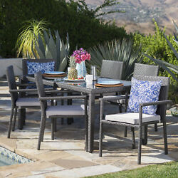 San Simeon Outdoor 7 Piece Wicker Dining Set With Water Resistant Cushions