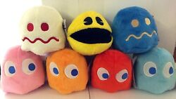 Set of 7 toys Pac-man plush 4'' each.Collectible.Licensed.Pac man.NWT.Christmas