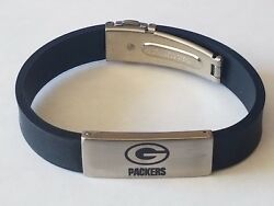 Nfl Green Bay Packers Stainless Steel And Rubber Logo Id Bracelet Jewelry