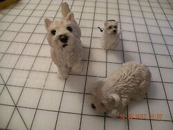 West Highland White Terrier Westie Sandicast Figurine - USA Group of Three