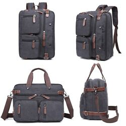 New Laptop Backpack Messenger Bag Convertible Briefcase Satchel Waxed Canvas