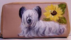 Hand painted Skye Terrier great american genuine leather ckeckbook wallet