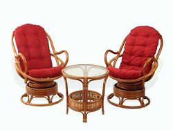 Lounge Set Of 2 Swivel Rocking Java Chairs Rattan Wiker And Coffee Table, Cognac