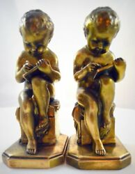 Antique Jennings Brothers Learning To Write Gilt Gold Bookends 1936