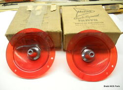 Nos Mopar 1961 Dodge Lancer Tail Light Lamp Lenses Set With Chrome Bezels.
