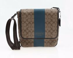 NEW WO Tag COACH Men's Heritage Stripe Map Messenger Crossbody Bag F70757
