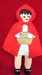 Darling Vintage Felt Little Red Riding Hood Christmas Ornament 6