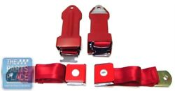 1964-66 Chevrolet Bowtie Lift Latch Style Front Seat Belts Retractable Red