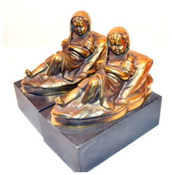 Vintage Art Deco T Bookends Girls After Bath Metal Highly Detailed Heavy