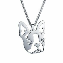 Stainless Steel Boston Terrier Boxwood American Gentleman Dog Pendant Necklace