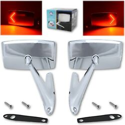 67 68 Ford Mustang Falcon Chrome Outside Exterior Side Rh Lh Led Mirror Pair