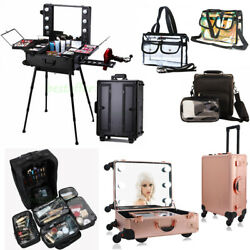 Pro Rolling Makeup Trolley Train Case Box Organizer Salon Cosmetic Clear Bag USA