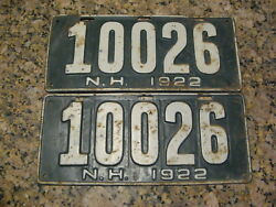 1922 22 New Hampshire Nh License Plate Pair 10026
