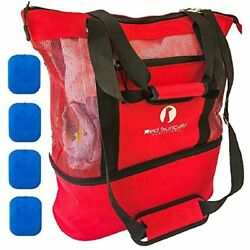Luggage Large Mesh Beach Cooler Bag Ice Packs Waterproof Pocket Insulated Top