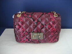 NWT Michael Kors Sloan Large Quilted Embossed Leather Chain Shoulder Bag Fuchsia