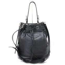 AUTHENTIC BALENCIAGA Paper Plate Bucket S Leather Drawstring Tote Bag 391513