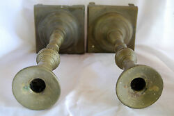Judaica Shabbat Candle Holders Antique Solid Bronze Eastern Europe Old 18th Cen