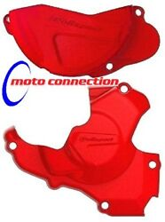 POLISPORT CLUTCH & IGNITION COVERS PROTECTORS RED for HONDA CRF250  2014 - 2017