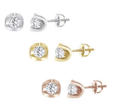 0.80 Ct Round Cut Natural Diamond In 14k Gold Friction Back Stud Earrings -igi-