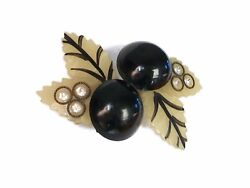 Art Deco Celluloid 'black Cherry' Brooch With Rhinestones - Unsigned - C. 1930's