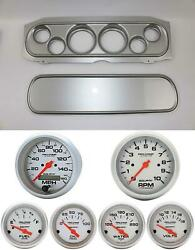 69-70 Cougar Silver Dash Carrier W/ Auto Meter Ultra Lite Electric Gauges