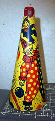 Vintage Noise Maker Cardboard Horn With Clown Graphics, Great Graphics And Colors