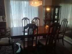 10 Pc Classic Elegance Antique Dining Room Set -table-6 Chairs-buffet- 2 Leafs