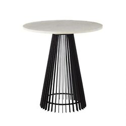 23.5 Round Accent Table Contemporary Iron Marble Brass Black White Antique Gold