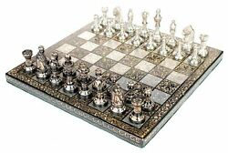 100 Brass 10 X 10 Collectible Premium Metal Brass Made Chess Board Game Set