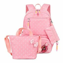 Polka Dot School Backpack For Girls Kids Book Bags And Handbag Pouch (3 Pcs