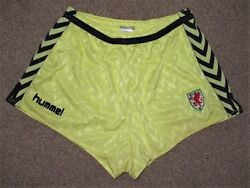 Vintage Wales 1987 Hummel Away Player Shorts Superb Condition Wear With Shirt