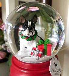 Boston Terrier Dog Christmas Snow Water Globe Musical Holiday Home Decor Gift