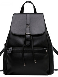 Coofit Women Black Leather Backpack for Girls Drawstring Schoolbag Casual Daypac