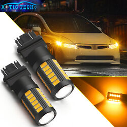 3157 Amber 33-smd Led Front Turn Signal Bulbs Light For Honda Civic Odyssey