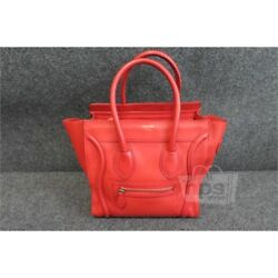 CELINE PARIS Womens Micro Luggage $2900 Red Baby Drummed Leather Tote Bag Purse