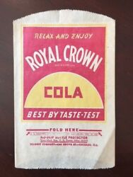 1930and039s Royal Crown Cola Un-used No-drip Bottle Bag Scarce