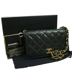 Authentic CHANEL Quilted Chain Shoulder Bag Black Leather GHW EXCELLENT AK16646