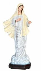 Our Lady Of Medjugorje 4,26ft Fiberglass Statue Able For Outdoor Eyes Of Glass
