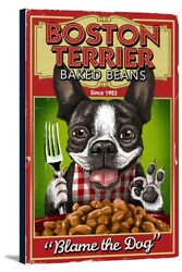 Boston Terrier - Retro Baked Beans Ad- LP Artwork (12x18 Stretch Canvas)