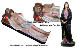 Our Lady Of Sorrow 33 + Jesus Dead Statue 31,5 Polyester Full Color