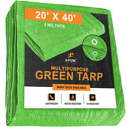 Green Poly Tarp Cover 20' X 40' Multi-purpose 5 Mil, Tent Shelter Rv Camping