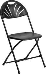 16 Commercial Black Plastic Folding Chairs Stackable Party Event Fan Back Chair