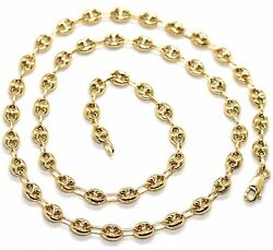 Massive 18k Yellow Gold Big Mariner Chain 5 Mm 20 Inches Italy Made Necklace