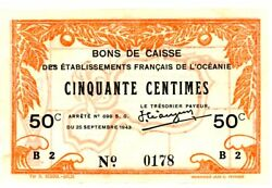 French Oceania ... P-10c ... 50 Centimes ... 1943wwii ... Choiceau-unc.